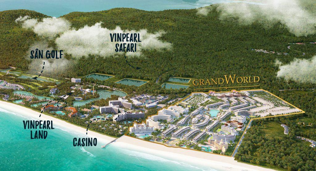 Grandworld Phú Quốc nằm trong tổng thể quần thể nghỉ dưỡng lớn nhất Phú Quốc
